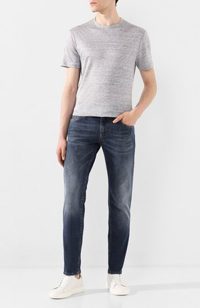 Мужская льняная футболка LUCIANO BARBERA светло-серого цвета, арт. 119565/81179   Фото 2