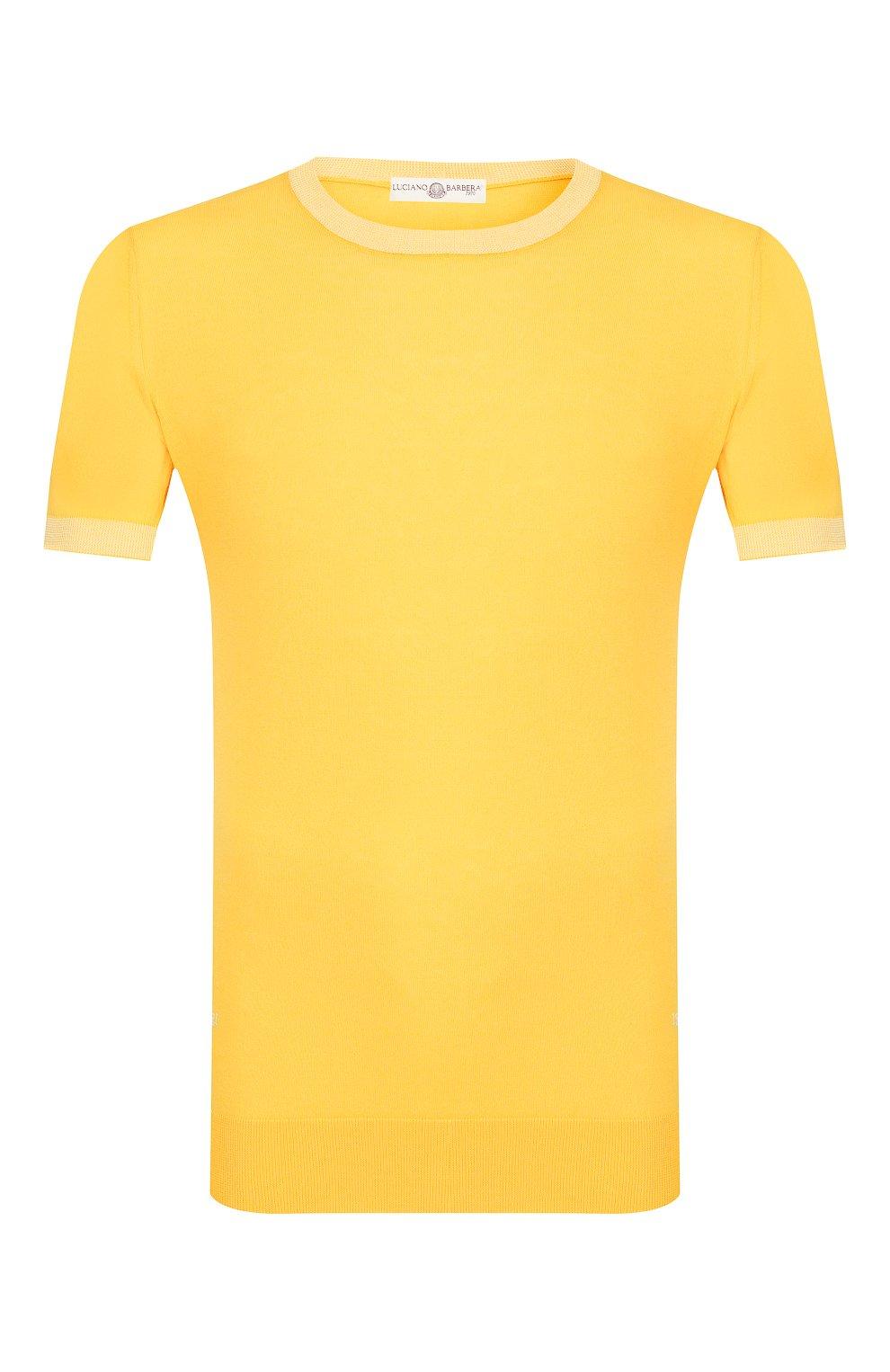 Мужской хлопковый джемпер LUCIANO BARBERA желтого цвета, арт. 109G05/53341   Фото 1