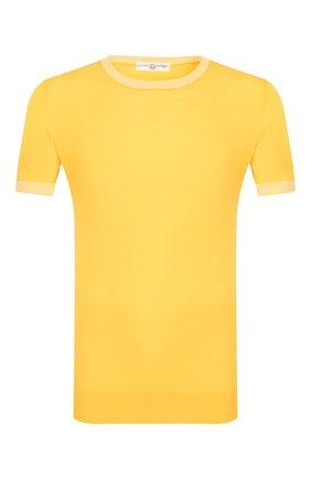 Мужской хлопковый джемпер LUCIANO BARBERA желтого цвета, арт. 109G05/53341 | Фото 1