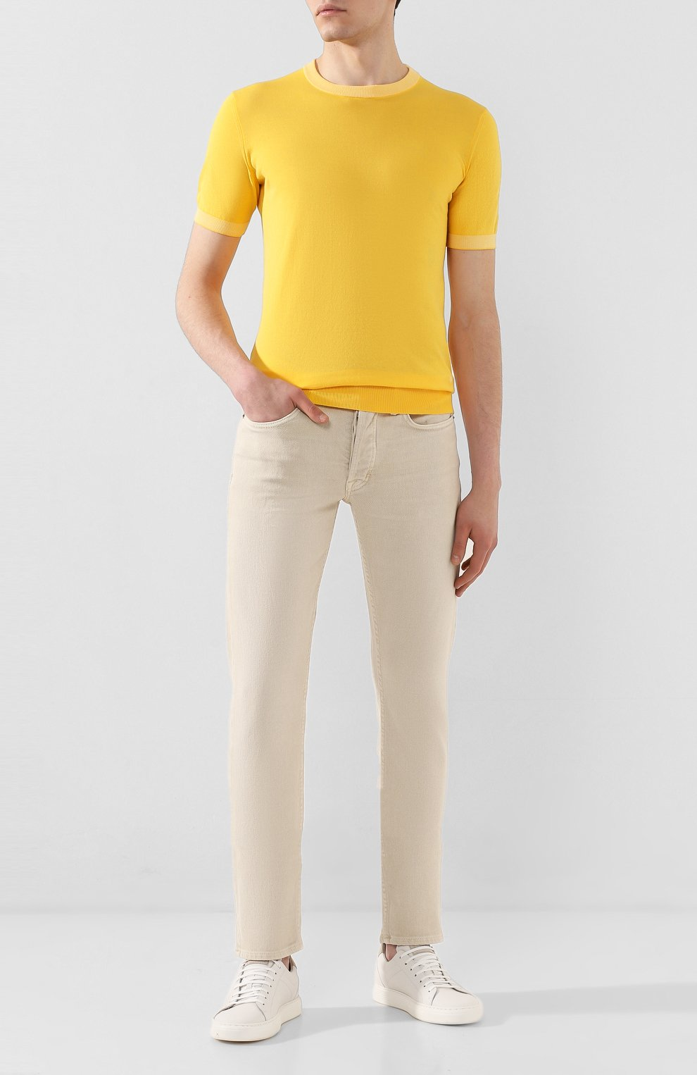 Мужской хлопковый джемпер LUCIANO BARBERA желтого цвета, арт. 109G05/53341   Фото 2