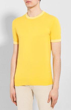 Мужской хлопковый джемпер LUCIANO BARBERA желтого цвета, арт. 109G05/53341   Фото 3
