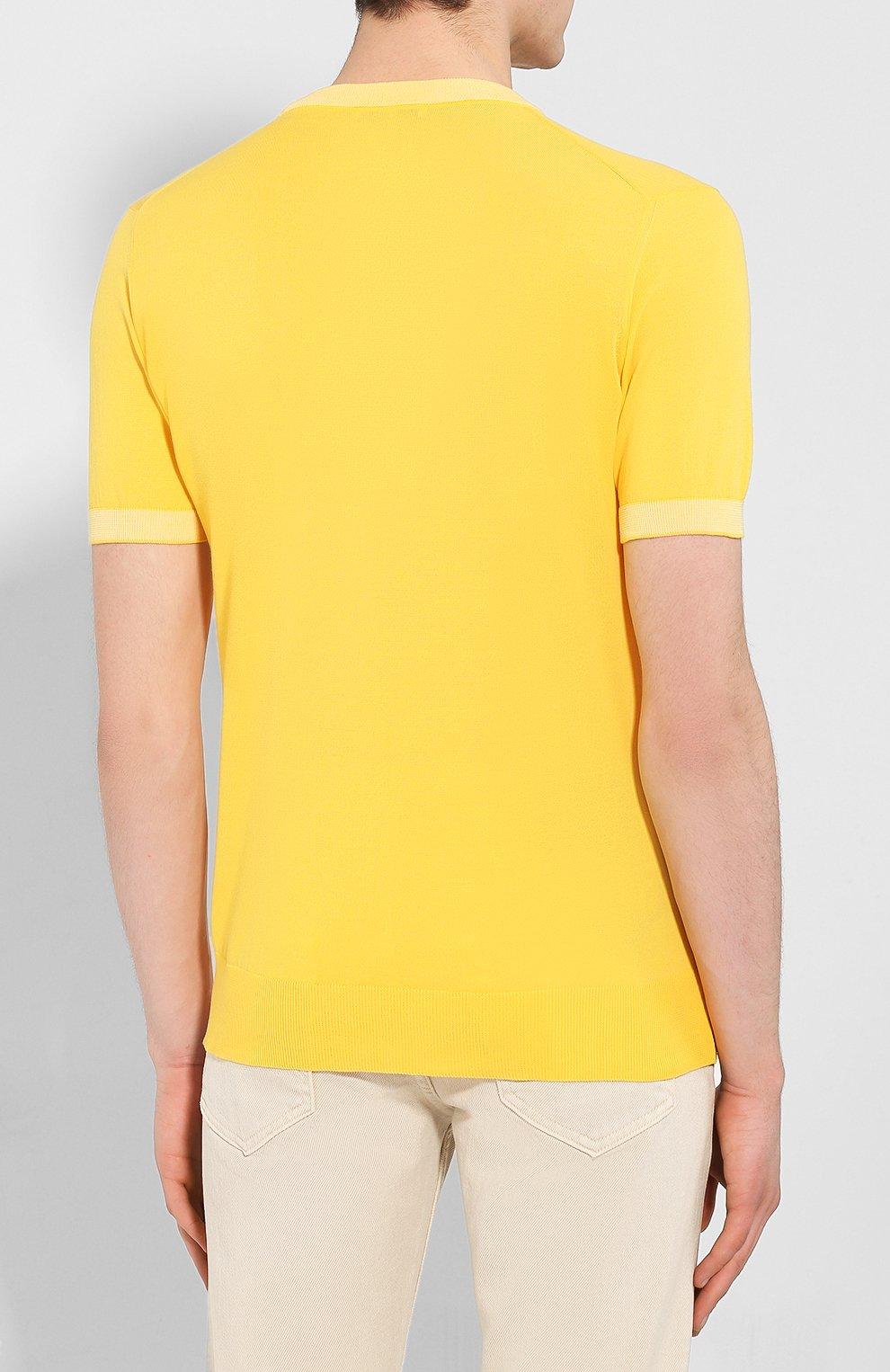 Мужской хлопковый джемпер LUCIANO BARBERA желтого цвета, арт. 109G05/53341   Фото 4