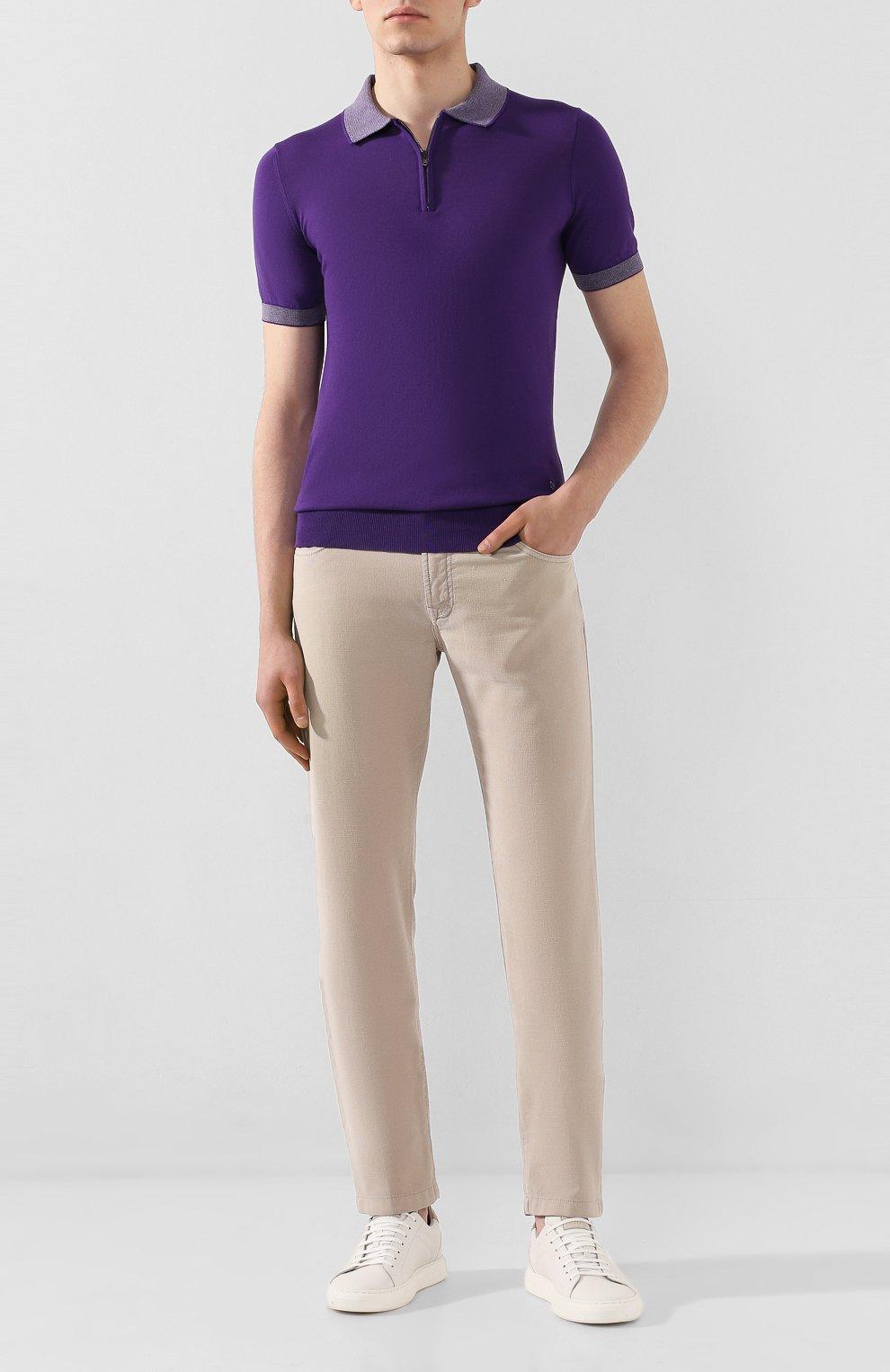 Мужское хлопковое поло LUCIANO BARBERA фиолетового цвета, арт. 109G03/53341 | Фото 2
