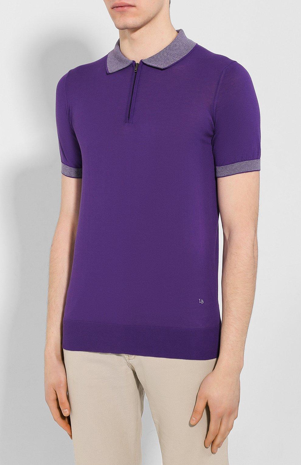 Мужское хлопковое поло LUCIANO BARBERA фиолетового цвета, арт. 109G03/53341 | Фото 3