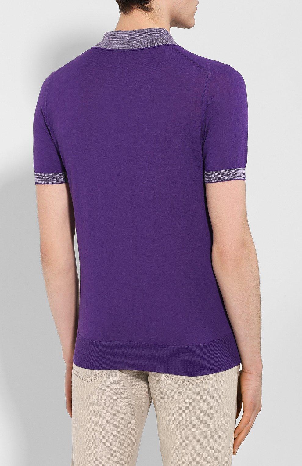 Мужское хлопковое поло LUCIANO BARBERA фиолетового цвета, арт. 109G03/53341 | Фото 4