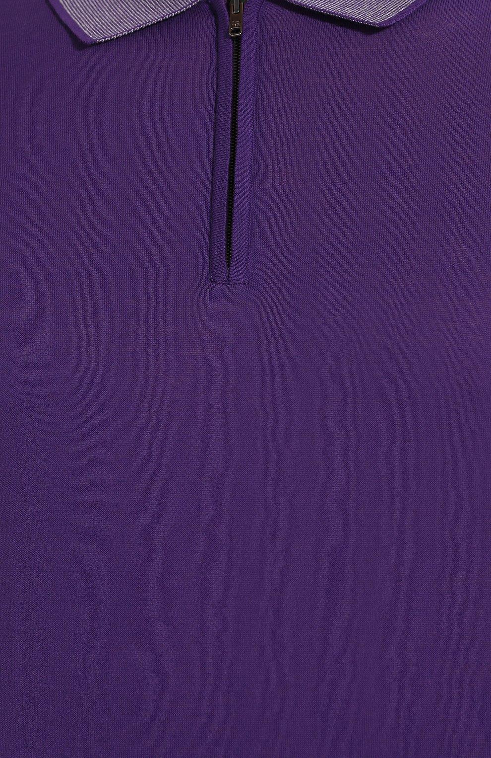 Мужское хлопковое поло LUCIANO BARBERA фиолетового цвета, арт. 109G03/53341 | Фото 5