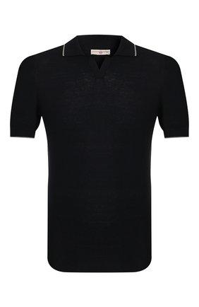 Мужское поло из смеси шелка и хлопка LUCIANO BARBERA черного цвета, арт. 109D04/53349   Фото 1