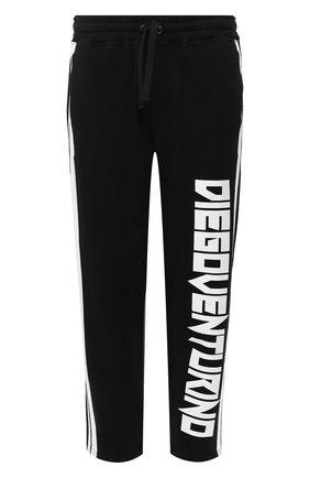 Мужской хлопковые брюки DIEGO VENTURINO черного цвета, арт. SS20-DV PNTL BND   Фото 1