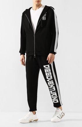 Мужской хлопковые брюки DIEGO VENTURINO черного цвета, арт. SS20-DV PNTL BND   Фото 2