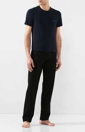Мужские хлопковая футболка EMPORIO ARMANI темно-синего цвета, арт. 110853/0P512 | Фото 2
