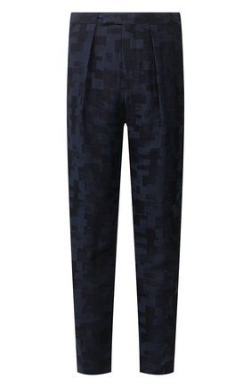 Мужские брюки из смеси льна и вискозы GIORGIO ARMANI темно-синего цвета, арт. 9SGPP05N/T01JJ   Фото 1 (Материал внешний: Лен, Вискоза; Материал подклада: Купро; Случай: Формальный; Стили: Классический)