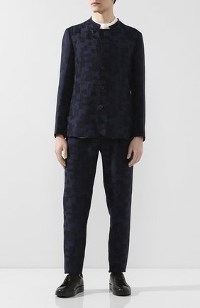 Мужские брюки из смеси льна и вискозы GIORGIO ARMANI темно-синего цвета, арт. 9SGPP05N/T01JJ   Фото 2 (Материал внешний: Лен, Вискоза; Материал подклада: Купро; Случай: Формальный; Стили: Классический)
