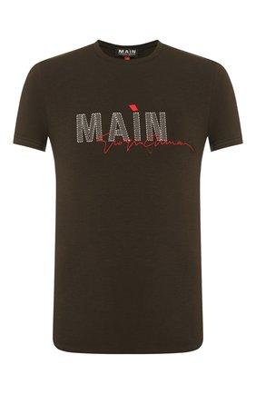 Мужская футболка из вискозы GIORGIO ARMANI хаки цвета, арт. 3HST80/SJP4Z | Фото 1