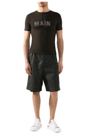Мужская футболка из вискозы GIORGIO ARMANI хаки цвета, арт. 3HST80/SJP4Z | Фото 2