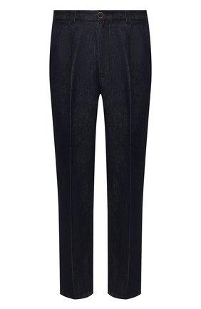Мужской брюки из смеси хлопка и льна GIORGIO ARMANI темно-синего цвета, арт. 3HSP69/SDS7Z | Фото 1