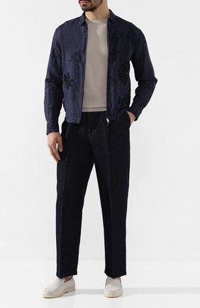 Мужской брюки из смеси хлопка и льна GIORGIO ARMANI темно-синего цвета, арт. 3HSP69/SDS7Z | Фото 2