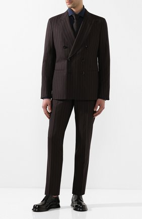 Мужской шерстяной костюм GIORGIO ARMANI коричневого цвета, арт. 0SGAV01L/T01JG | Фото 1