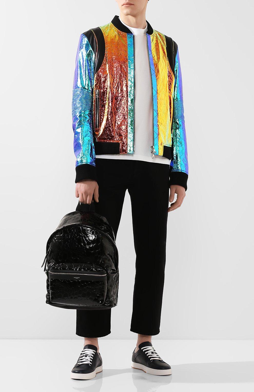 Мужской кожаный рюкзак city SAINT LAURENT черного цвета, арт. 534967/00X5F   Фото 2