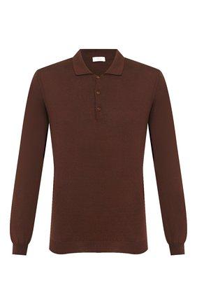 Мужское поло из смеси шелка и хлопка ALTEA коричневого цвета, арт. 2051009 | Фото 1