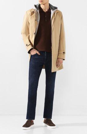 Мужское поло из смеси шелка и хлопка ALTEA коричневого цвета, арт. 2051009 | Фото 2