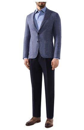 Мужская сорочка из смеси хлопка и льна BRIONI голубого цвета, арт. RCLU1T/P906V | Фото 2