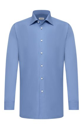 Мужская сорочка из смеси хлопка и шелка BRIONI синего цвета, арт. RCLU1V/P909M   Фото 1