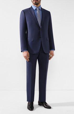 Мужская сорочка из смеси хлопка и шелка BRIONI синего цвета, арт. RCLU1V/P909M   Фото 2