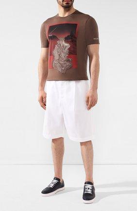 Мужские хлопковые шорты GIORGIO ARMANI белого цвета, арт. 9SGPB003/T01MP | Фото 2