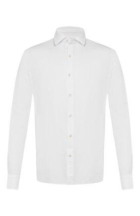 Мужская хлопковая рубашка ERMENEGILDO ZEGNA белого цвета, арт. UU526/854 | Фото 1 (Мужское Кросс-КТ: Рубашка-одежда; Рукава: Длинные; Длина (для топов): Стандартные; Материал внешний: Хлопок; Принт: Однотонные; Случай: Повседневный; Манжеты: На пуговицах; Воротник: Кент)