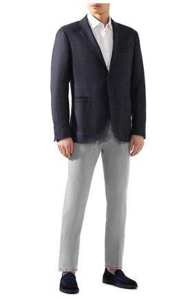 Мужская хлопковая рубашка ERMENEGILDO ZEGNA белого цвета, арт. UU526/854 | Фото 2 (Мужское Кросс-КТ: Рубашка-одежда; Рукава: Длинные; Длина (для топов): Стандартные; Материал внешний: Хлопок; Принт: Однотонные; Случай: Повседневный; Манжеты: На пуговицах; Воротник: Кент)