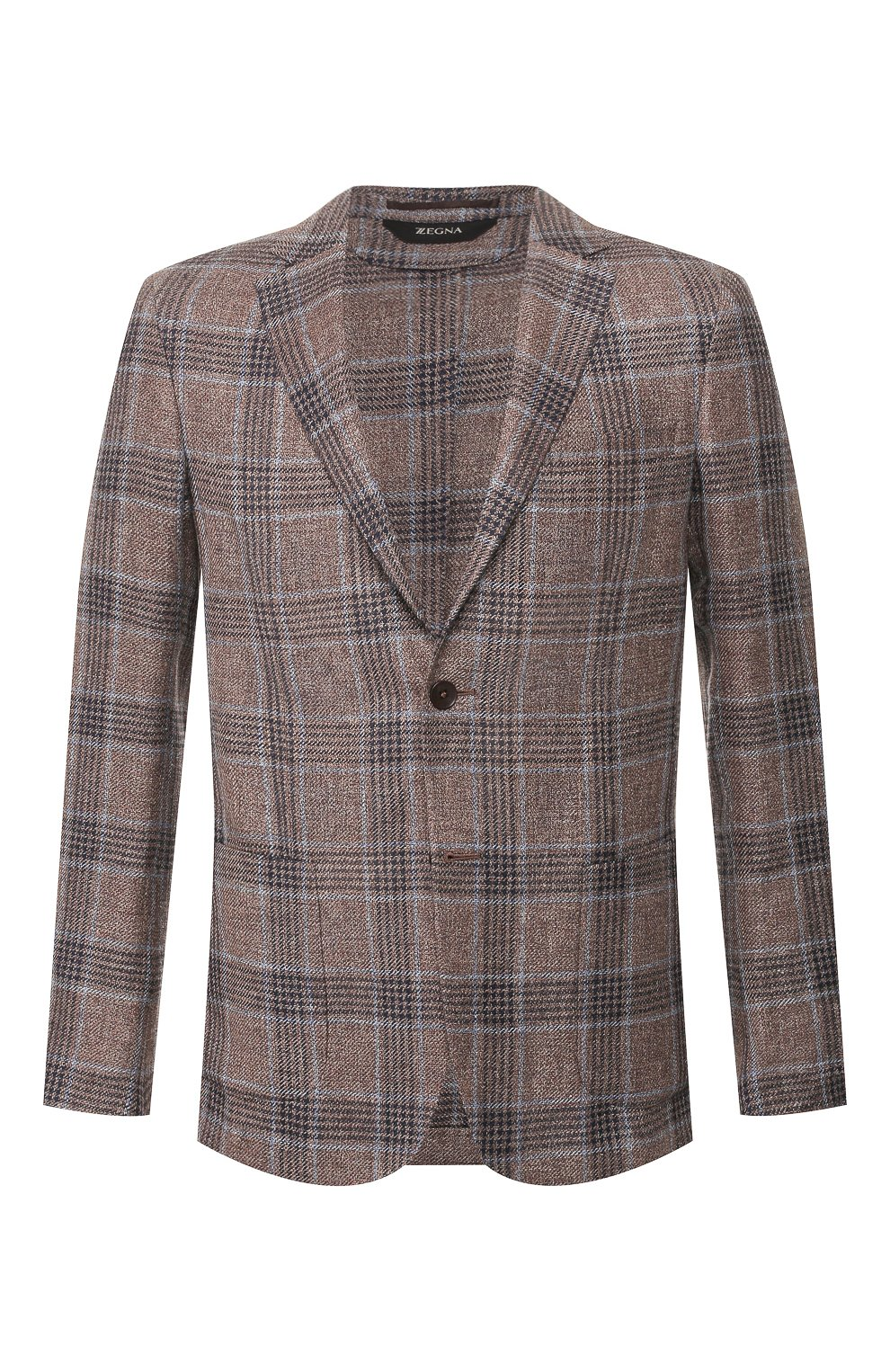 Мужской пиджак из смеси льна и шелка Z ZEGNA коричневого цвета, арт. 754798/1D7SG0 | Фото 1