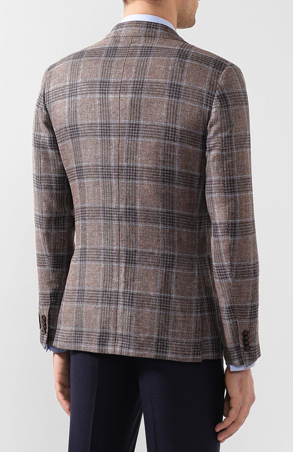 Мужской пиджак из смеси льна и шелка Z ZEGNA коричневого цвета, арт. 754798/1D7SG0 | Фото 4