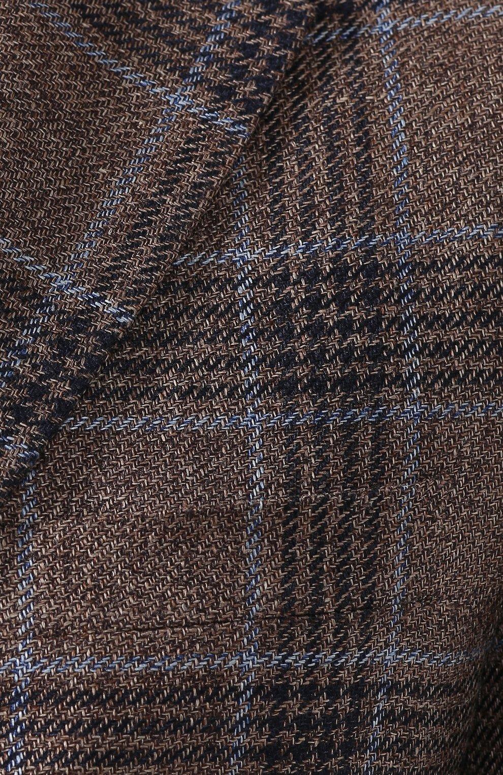 Мужской пиджак из смеси льна и шелка Z ZEGNA коричневого цвета, арт. 754798/1D7SG0 | Фото 5