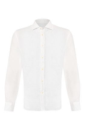 Мужская льняная рубашка 120% LINO белого цвета, арт. R0M1311/B317/000 | Фото 1