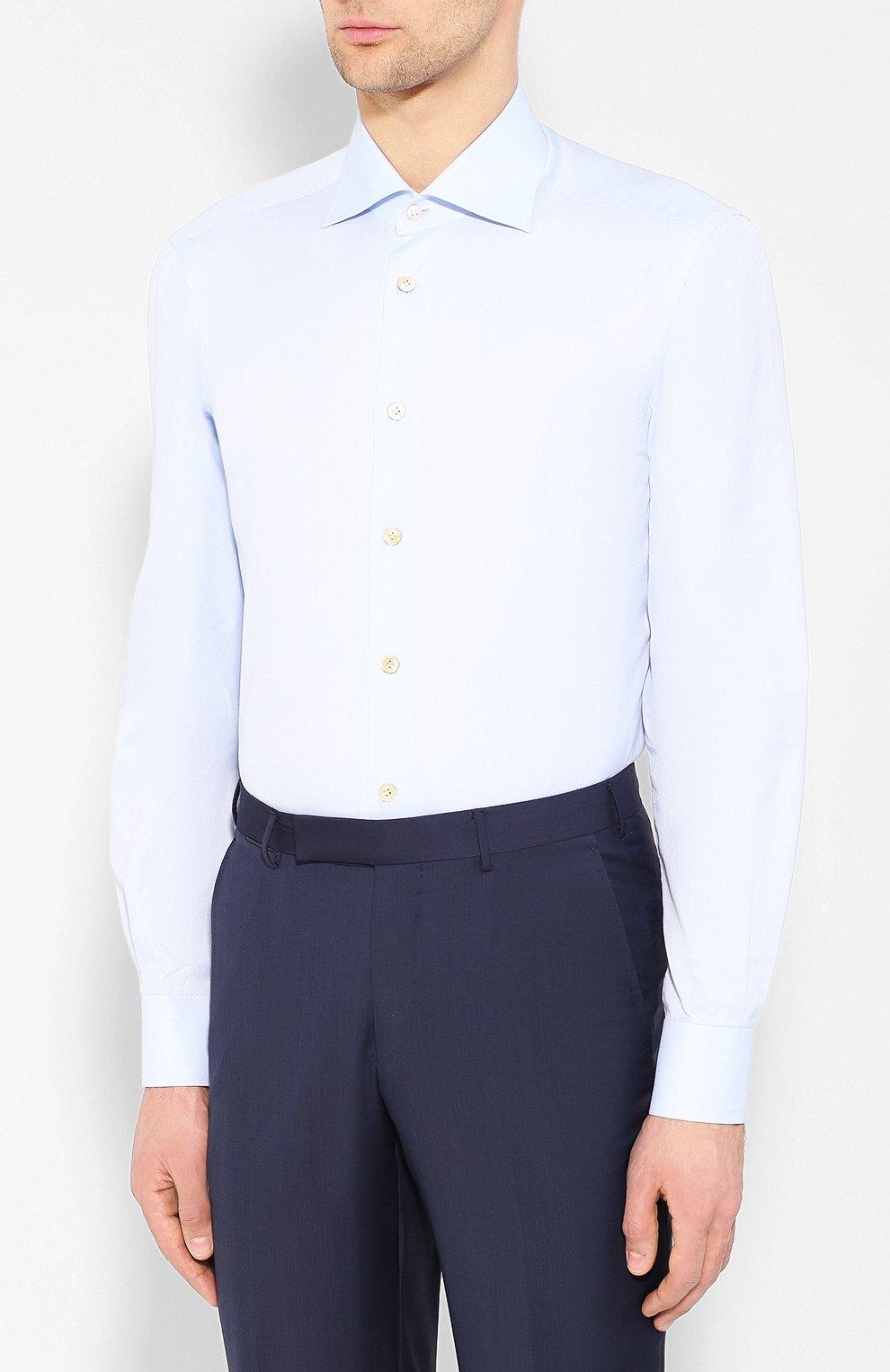Мужская хлопковая сорочка KITON светло-голубого цвета, арт. UCIH0660502 | Фото 3