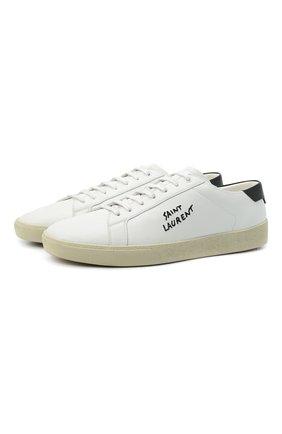 Мужские кожаные кеды court classic sl/06 SAINT LAURENT белого цвета, арт. 610685/08G10 | Фото 1