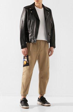 Мужские кожаные кеды sl24 SAINT LAURENT черного цвета, арт. 602546/04L10 | Фото 2