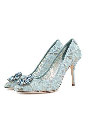 Женские текстильные туфли rainbow lace DOLCE & GABBANA голубого цвета, арт. 0112/CD0101/AL198 | Фото 1 (Материал внешний: Текстиль; Материал внутренний: Натуральная кожа; Подошва: Плоская; Каблук высота: Высокий; Каблук тип: Шпилька)