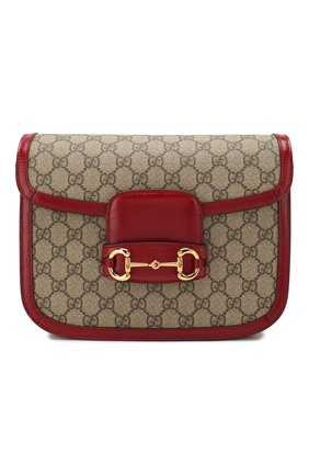Женская сумка 1955 horsebit GUCCI красного цвета, арт. 602204/92TCG | Фото 1 (Сумки-технические: Сумки через плечо; Материал: Экокожа, Текстиль; Ремень/цепочка: На ремешке; Размер: small)