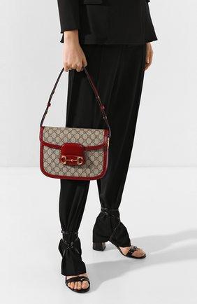Женская сумка 1955 horsebit GUCCI красного цвета, арт. 602204/92TCG | Фото 2 (Сумки-технические: Сумки через плечо; Материал: Экокожа, Текстиль; Ремень/цепочка: На ремешке; Размер: small)