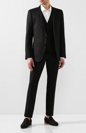 Мужские текстильные лоферы SANTONI черного цвета, арт. MCNM15366BB3JBDWN01   Фото 2