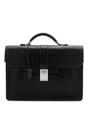 Мужской портфель из кожи аллигатора ZILLI черного цвета, арт. MJL-0BB08-10100/0001/AMIS | Фото 1