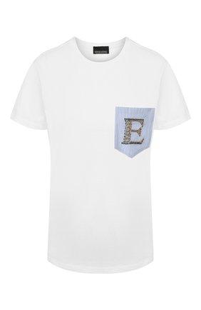 Женская хлопковая футболка ERMANNO ERMANNO SCERVINO белого цвета, арт. 46T TS12 JC0   Фото 1