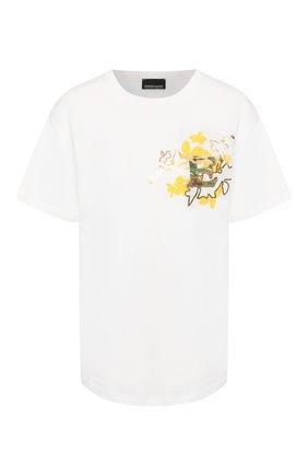 Женская хлопковая футболка ERMANNO ERMANNO SCERVINO белого цвета, арт. 46T TS16 JC0   Фото 1