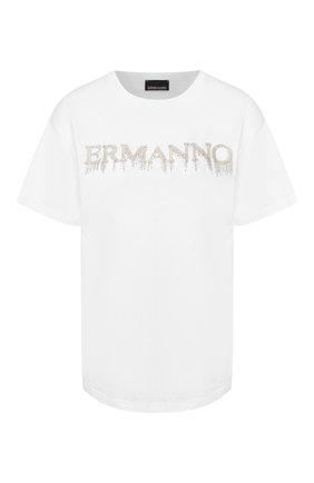 Женская хлопковая футболка ERMANNO ERMANNO SCERVINO белого цвета, арт. 46T TS17 JC0   Фото 1