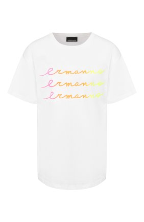 Женская хлопковая футболка ERMANNO ERMANNO SCERVINO белого цвета, арт. 46T TS27 JC0   Фото 1