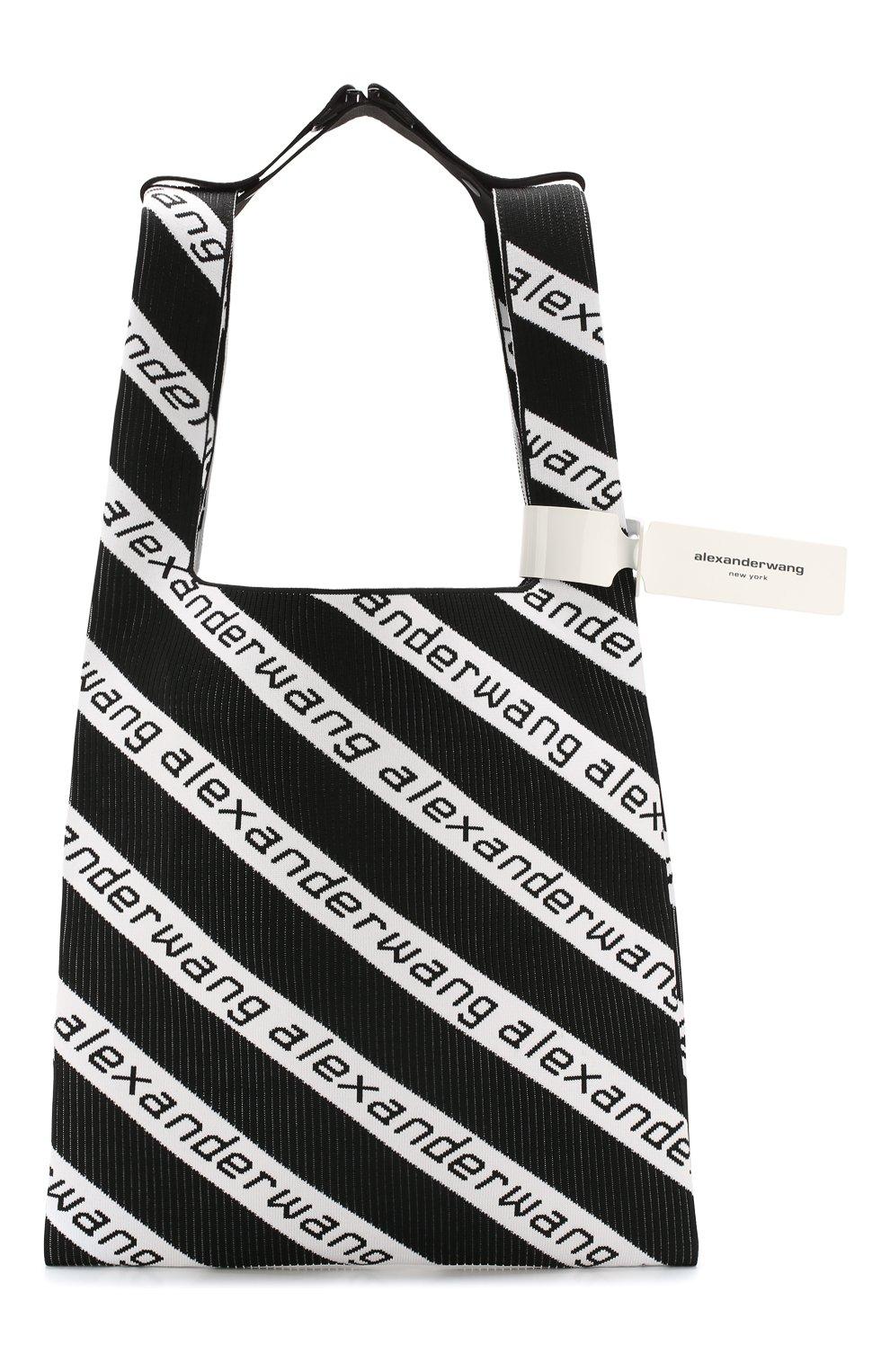 Женский сумка-шопер ALEXANDER WANG черно-белого цвета, арт. 20C120R239 | Фото 1