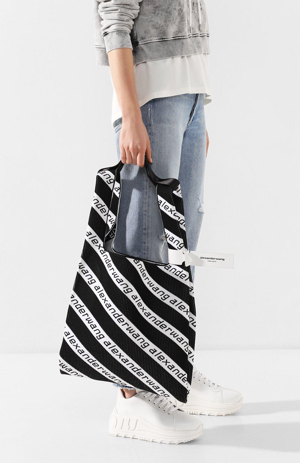 Женский сумка-шопер ALEXANDER WANG черно-белого цвета, арт. 20C120R239 | Фото 2