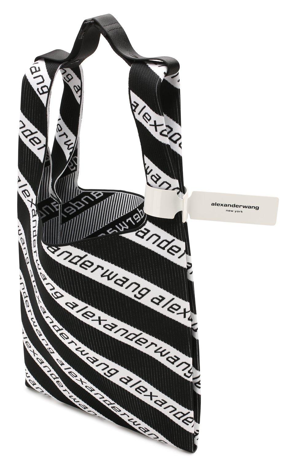 Женский сумка-шопер ALEXANDER WANG черно-белого цвета, арт. 20C120R239 | Фото 4