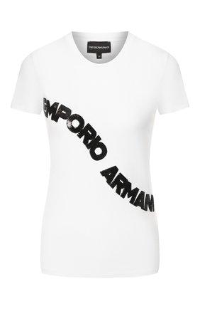 Женская хлопковая футболка EMPORIO ARMANI белого цвета, арт. 3H2T6F/2JQAZ | Фото 1